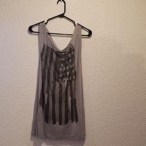 Tops - Gray American Flag Tank Top